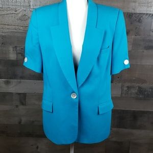 Oleg Cassini short Sleeved  blue blazer sz 14